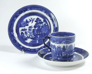 19TH CENTURY CHARLES FORD ANTIQUE BLUE AND WHITE CHINA TRIO