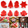 4Pcs Christmas Cookie Plunger Cutter Mould Fondant Cake Mold Bake Biscuit Mold