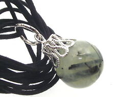 14mm Prehnite Gemstone Crystal Sphere Pendant