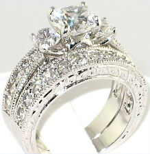 Fancy 3.64 Ct. CZ Antique Anniversary Engagement Wedding Bridal Ring Set- Size 9