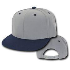 Gray & Navy Blue Vintage Flat Bill Snapback Snap Back Baseball Cap Caps Hat Hats