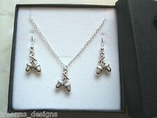 SWEET DOUBLE ACORN CHARM Gift Set SP Necklace Earrings GIFT BOX Woodland Gift