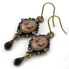 Purple Teardrop Romantic Cameo Hoop Dangle Pierced Earring Antique Vintage Style