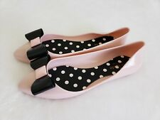 New Kate Spade NY jelly ballerina Pink Black Bow womens size 7 shoe flat Sandal