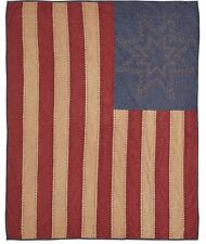 Patriot Flag 50x60 Quilt Throw : Rustic Star Stripes 4Th July Primitive Blanket