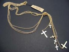 $16 Carole Triple Layer Cross Drops Lariat Chains Knotted Necklace Goldtone