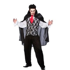 Mens Vampire Prince of Darkness Halloween Costume for Fancy Dress Man Small