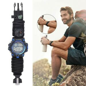 Multi‑Functional Waterproof Watch Umbrella Rope Camping Adventure Compass Watch