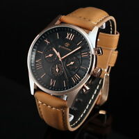 Mens Watch Mechanical Automatic Vintage Brown Leather Three Black Dial Luxury