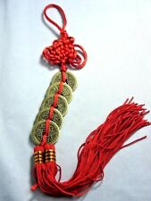 Chinese Feng Shui 5 Coins Lucky Red Tassel Hanging Charm Wealth Fortune car wall