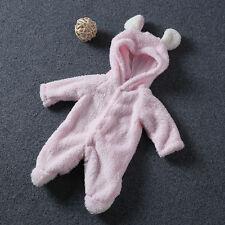 Newborn Baby Infant Boy Girl Romper Hooded Fleece Jumpsuit Bodysuit Outfits New