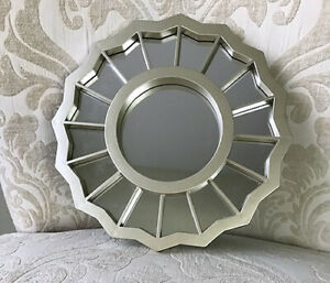 """Small Resin/Plastic Frame Silver Wall Decor Accent Hanging Mirror 7.75"""""""