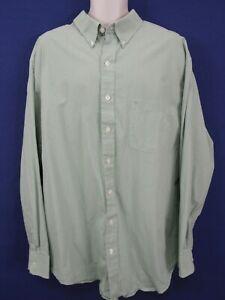IZOD - Mens XXLT 2XLT Green Plaid Button Front Cotton Dress Casual Shirt LS