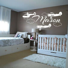 Personalized Name Wall Decals Boy Decal Vinyl Sticker Plane Airplane Decor MN726