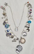 Vintage Sterling Silver Charm Necklace Mexican, Stones, Enamel 26 Charms 56 GRS