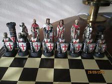 ?Schachfiguren Set - Kreuzritter Weiß und Rot - Ritter Schach Figuren