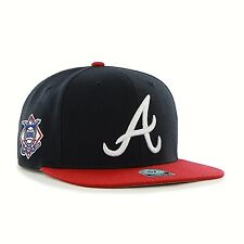 ATLANTA BRAVES ADULT ADJUSTABLE SNAPBACK FLAT BILL NAVY/RED CAP HAT WITH LOGO A