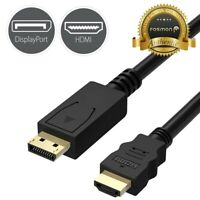 2x 6FT Display Port DisplayPort DP to HDMI Cable Adapter Gold Plated [UL Listed]