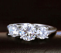Three Stone Engagement Ring Diamond Gold 14k 3 White Round Ct Cut 1 2 Carat