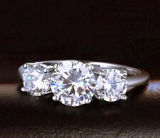 Three Stone Engagement Ring Diamond Gold 14k 3 White Round Ct Cut 1 2 Carat