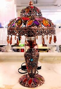 Moroccan Jewel Droplet Table Lamp-,Wattage 40W, Bronze Colour