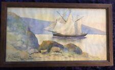 Belle AQUARELLE Marine bateau signée M. Olivier - encadré décoration