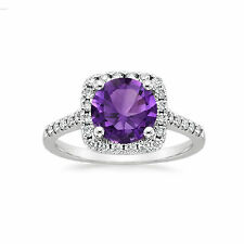 Real Amethyst Gemstone 2.72 Ct Diamond Engagement Ring 14K White Gold Size 10