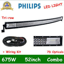 52 inch LED Light Bar 675W Spot Flood Curved Off Road Driving/Fog Lamp + Wiring