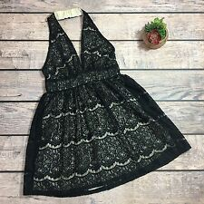 Modcloth Audrey 3+1 Lace Halter Dress | Size Large