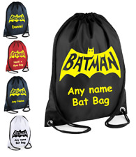 PERSONALISED Drawstring Bag Superhero BATMAN Marvel  School PE Kit Sport Girls