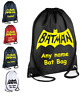PERSONALISED Drawstring Bag Superhero BATMAN gym School PE Kit Sport Boys