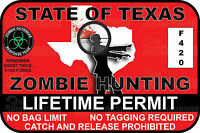 Texas Zombie Hunting Permit Bumper Laptop Sticker DECAL Funny Truck Yeti Novelty