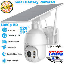 Home Security Camera Outdoor Solar Battery Powered Wireless  Pan Tilt Spotlight