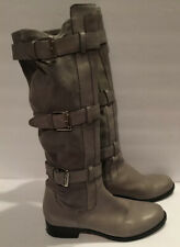 Cole Haan Air Avalon Tall Gray Suede Riding Boots Womens Sz 9 Buckle Knee High