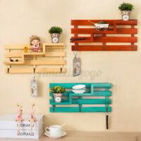 Vintage Wooden Rack Wall Mounted 3 Hooks Wood Storage Shelf Holder Home Decor