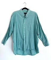 Christian Dior Button Down Dress Shirt Green Pinstripe Cotton Mens 17 1/2, 32/33