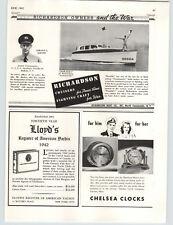 1942 PAPER AD Richardson Cruisers Motor Boat Fighting Craft WWII Chelsea Clocks