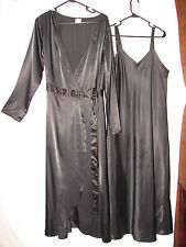 Cabernet Black Nightgown Gown and Robe Set  ~ size Large Peignoir Set Silky Feel