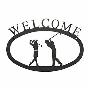 17.5 Inch Two Golfers Welcome Sign Large