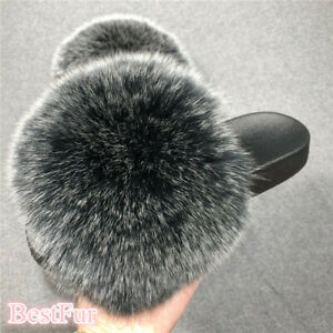 Black Frost-Max Large XXL Real Fox Fur Slides Womens Slippers Sandals Shoes