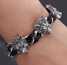 Men's Vintage Titanium Steel Wolf Head Punk Bangle Bracelet PU Leather Wristband