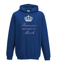 Juko Princesses Are Born In March Hoodie Girls Princess Hoody