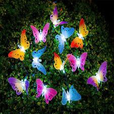 Solar Powered 12LED Butterfly Fairy String Light Lamp Outdoor Garden Waterproof