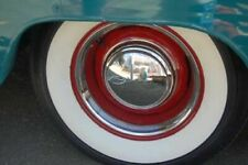 "[#W-375] 15"" Tire 3"" Wide White Side wall Port o wall trim Set Hot Rod Baby Moon"