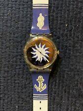 Vintage Nautical Women's Swatch Wrist Watch Sailor Sailboat Ocean Life Working