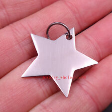 Lot 5pcs in bulk 20mm Fashion Stainless Steel Shiny Star design Pendant Charms