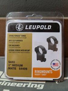 """BRAND NEW! Leupold 54409 Sako Ring Set 1"""" Diameter Medium Black Matte"""