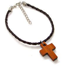 Wood Cross Bracelet Anklet Braided Faux Leather Adjustable