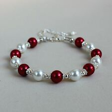 Red and white pearls silver beaded bracelet party wedding bridesmaid gift
