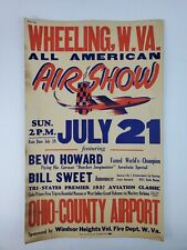 1957 Wheeling West VA Air Show Cardboard Poster Sign Airplane graphics Aviation
